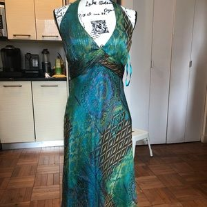 Incredible Cache Green & Blue Preowned dress sz 6